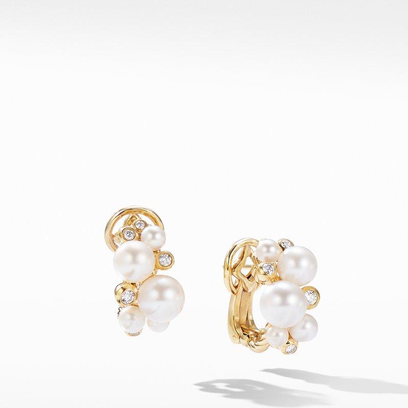 David Yurman Pearl Cluster Earring in 18K Yellow Gold with Diamonds