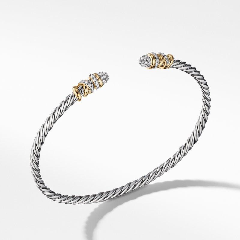 David Yurman Petite Helena Bracelet with Diamonds and 18K Yellow Gold