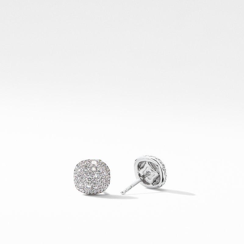 David Yurman Small Cushion Stud Earrings in 18K White Gold with Pavé Diamonds