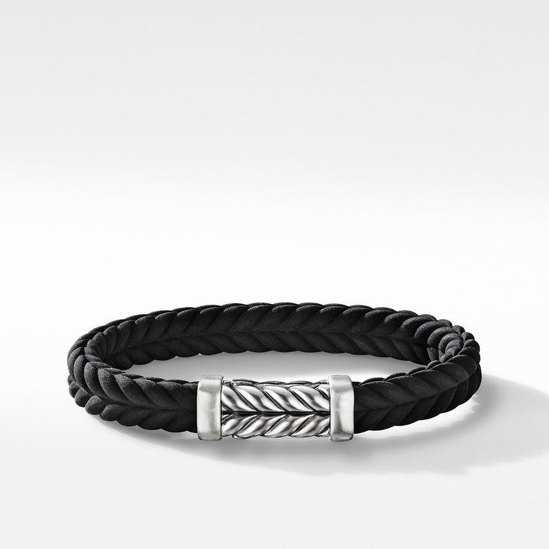 David Yurman Chevron Black Rubber Link Bracelet