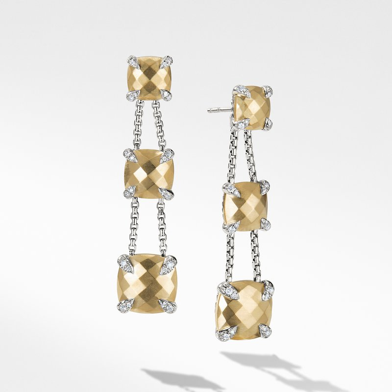 David Yurman Chatelaine® Linear Chain Earrings with 18K Gold and Diamonds