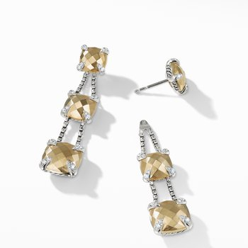 Chatelaine® Linear Chain Earrings with 18K Gold and Diamonds