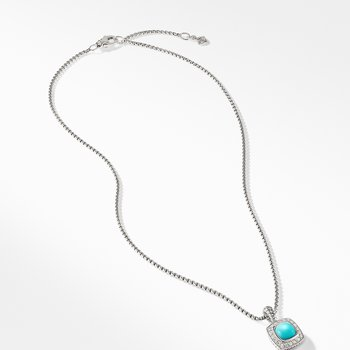 Petite Albion® Pendant Necklace with Turquoise and Diamonds