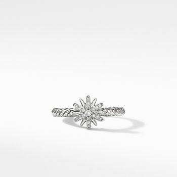 Petite Starburst Station Ring with Pavé Diamonds