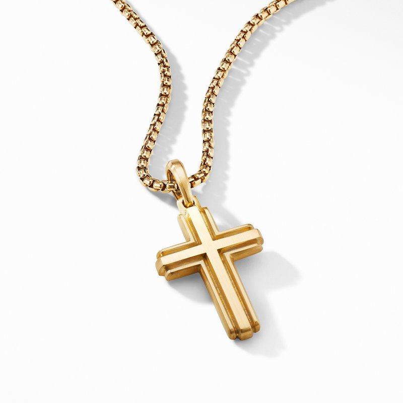 David Yurman Deco Cross Pendant in 18K Yellow Gold