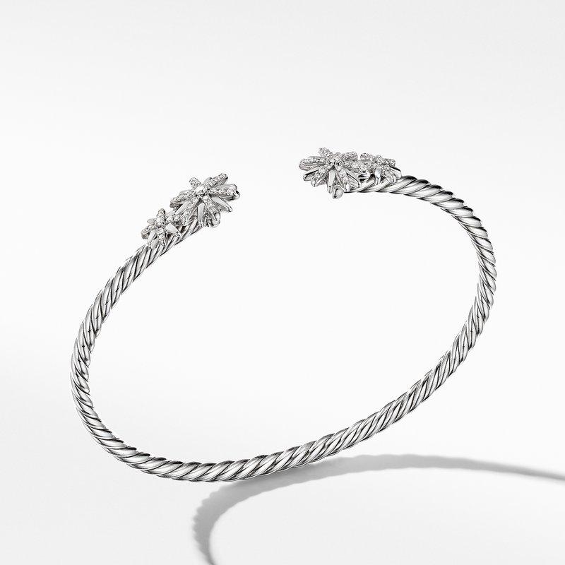 David Yurman Starburst Open Cable Bracelet with Pavé Diamonds