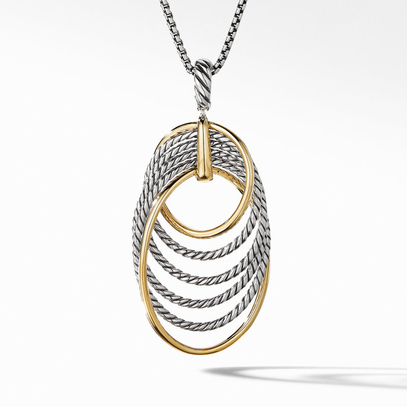 David Yurman DY Origami Pendant Necklace with 18K Yellow Gold