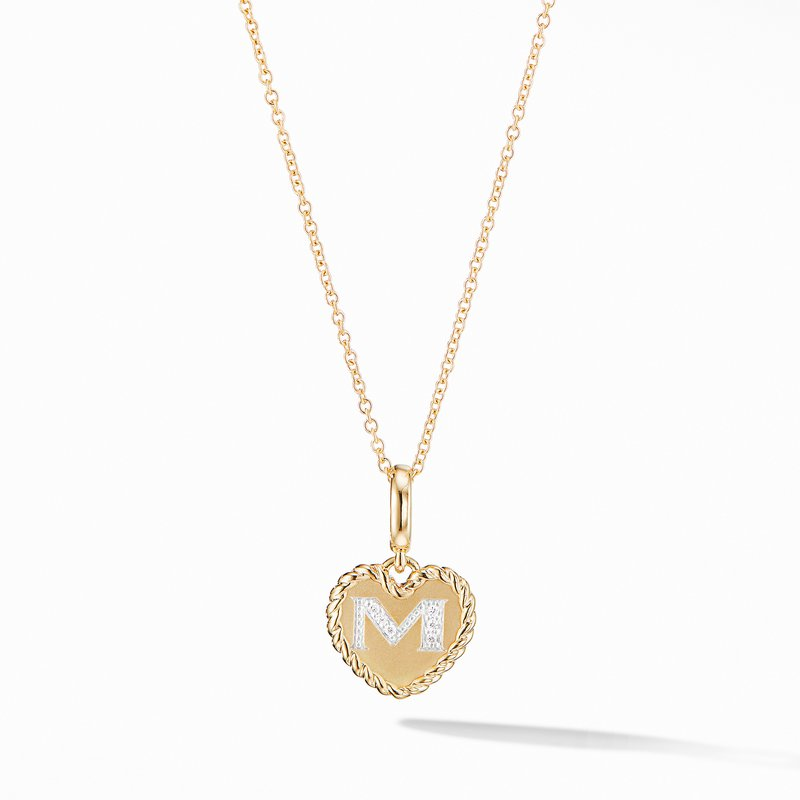 David Yurman Initial Heart Charm Necklace in 18K Yellow Gold with Pavé Diamonds