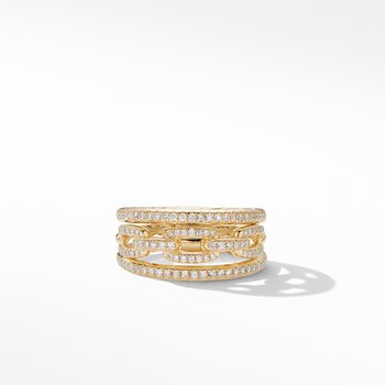 Stax Three-Row Chain Link Ring in 18K Yellow Gold and Diamonds