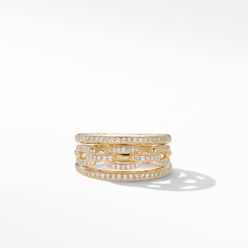 David Yurman Stax Three-Row Chain Link Ring in 18K Yellow Gold and Diamonds