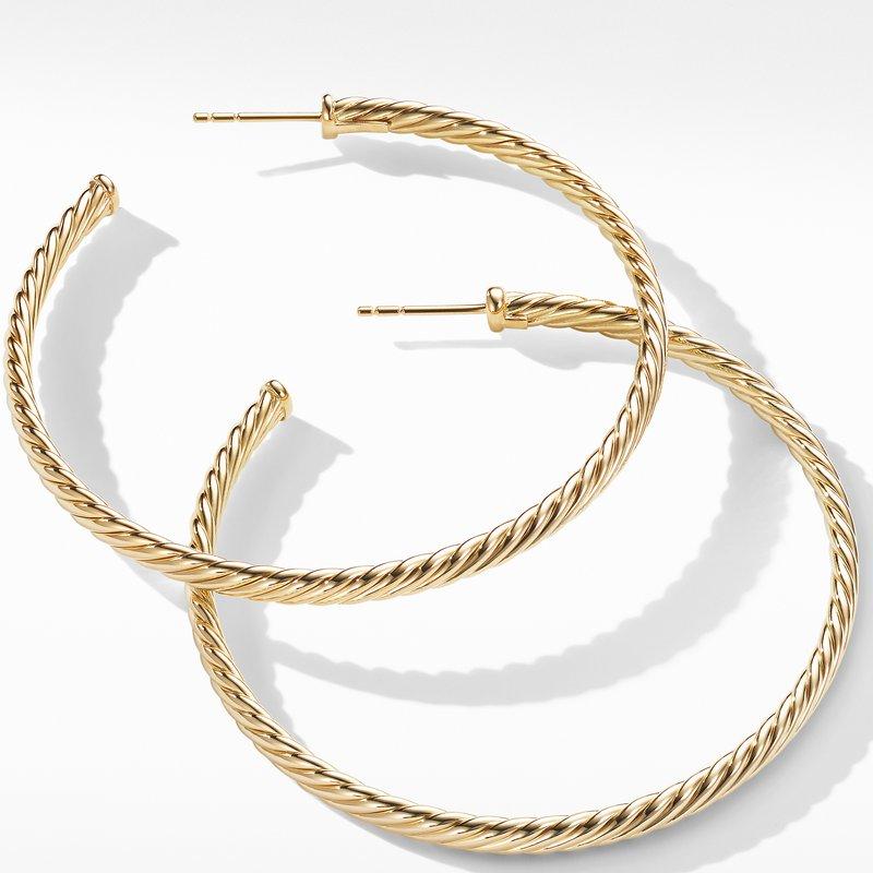 David Yurman Large Cablespira Hoop Earrings in 18K Yellow Gold