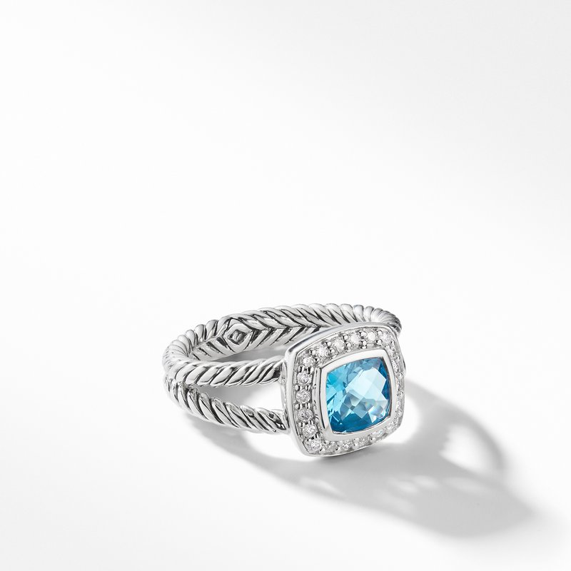 David Yurman Petite Albion® Ring with Blue Topaz and Diamonds