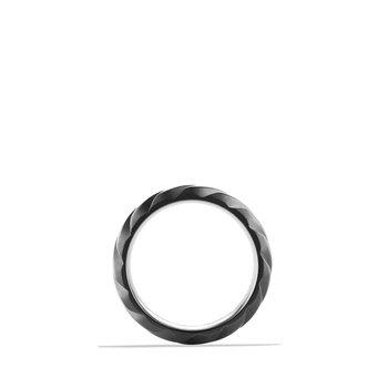 Modern Cable Wide Band Ring with Black Titanium