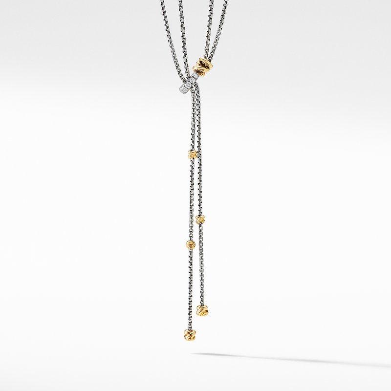 David Yurman Petite Helena Y Necklace with 18K Yellow Gold and Diamonds