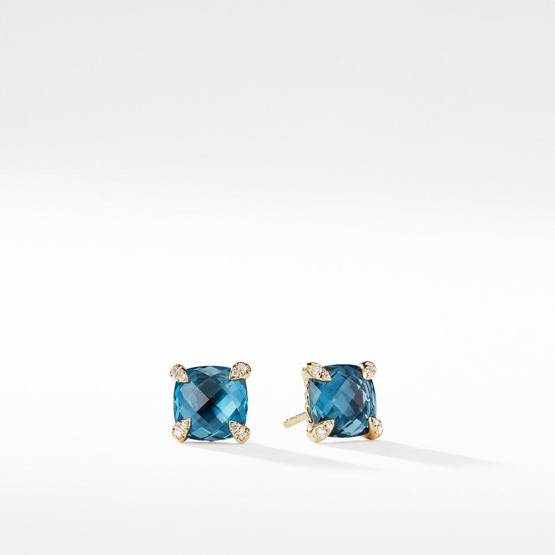David Yurman Chatelaine® Earrings with Hampton Blue Topaz in 18K Gold
