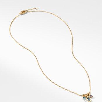 Novella Pendant Necklace with Hampton Blue Topaz Aquamarine and Tanzanite