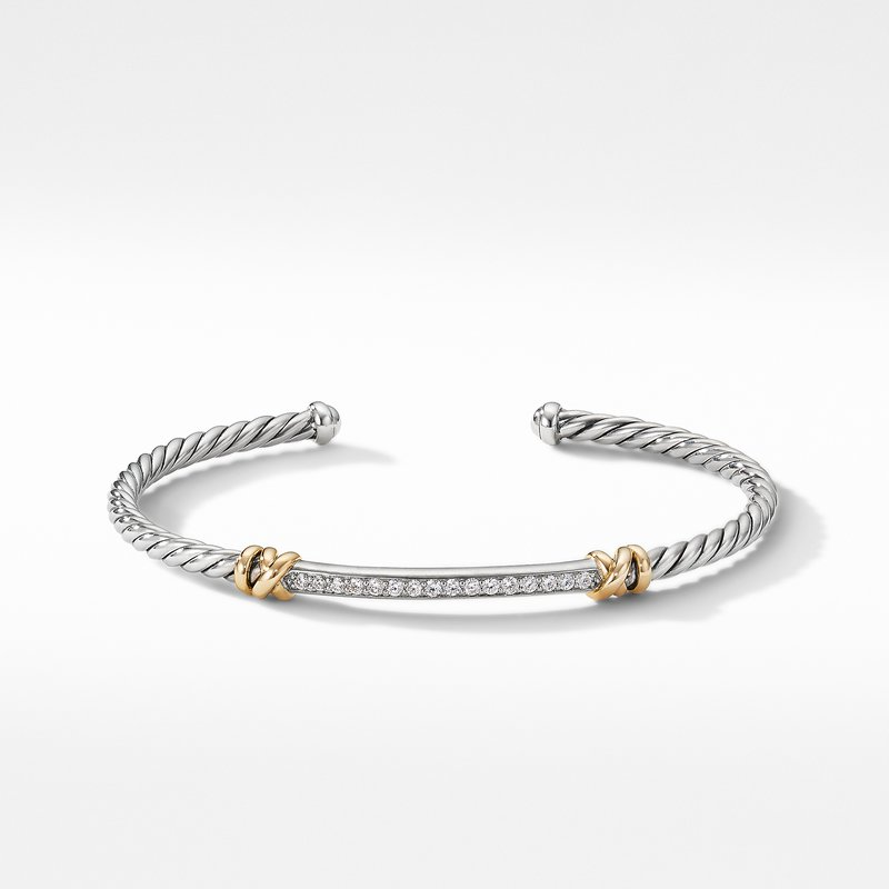 David Yurman Petite Helena Two Station Wrap Bracelet with 18K Yellow Gold with Diamonds