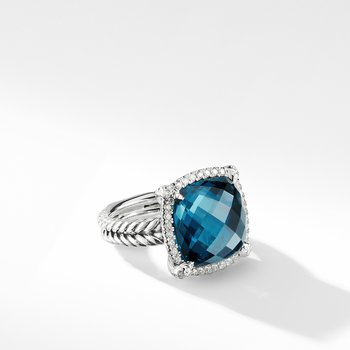 Chatelaine Pave Bezel Ring with Hampton Blue Topaz and Diamonds, 14mm