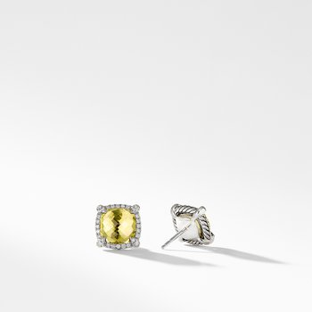 Chatelaine Pave Bezel Stud Earring with Lemon Citrine and Diamonds, 9mm