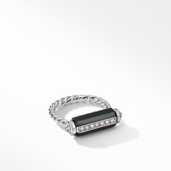 Lexington Barrel Ring with Black Onyx and Diamonds