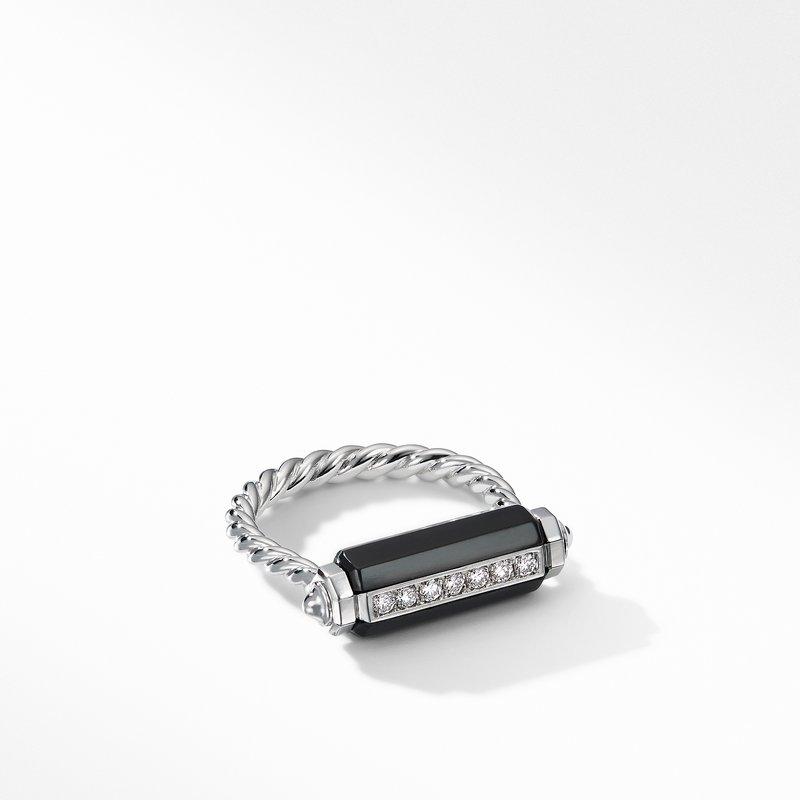 David Yurman Lexington Barrel Ring with Black Onyx and Diamonds