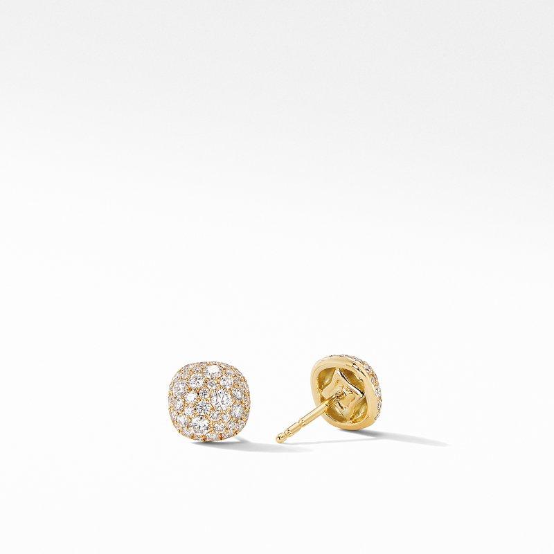 David Yurman Small Cushion Stud Earrings in 18K Yellow Gold with Pavé Diamonds