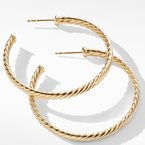 David Yurman Medium Cablespira Hoop Earrings in 18K Yellow Gold