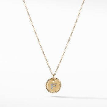 """F"" Pendant with Diamonds in Gold on Chain"
