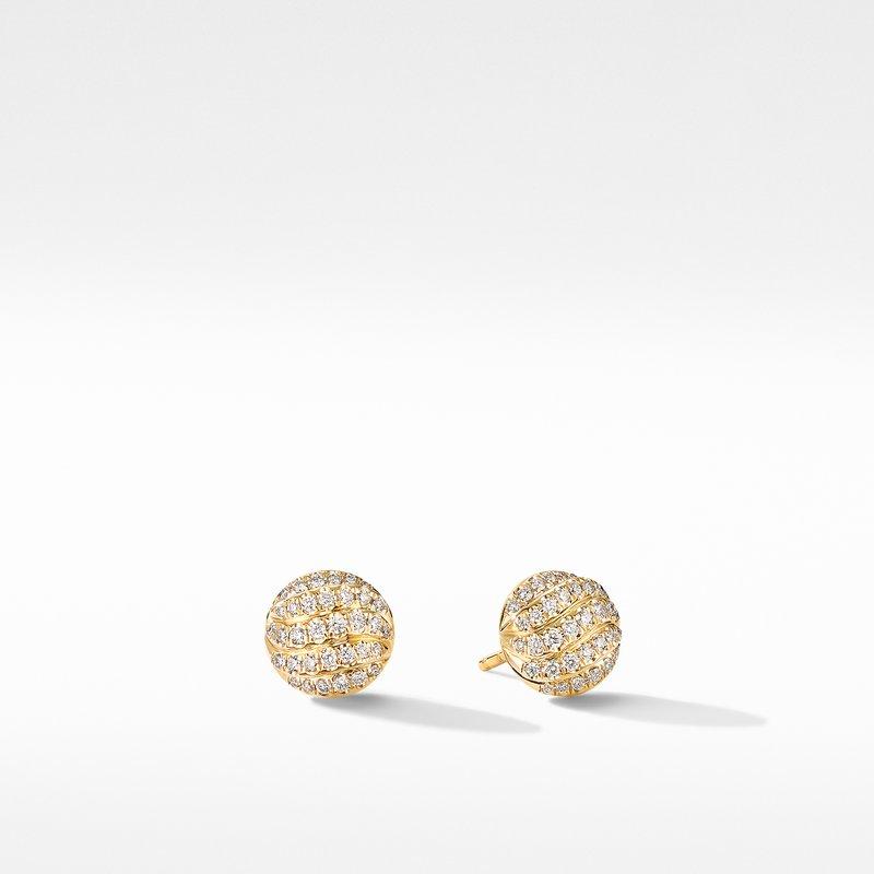 David Yurman Mini Cable Stud Earrings in 18K Yellow Gold with Diamonds