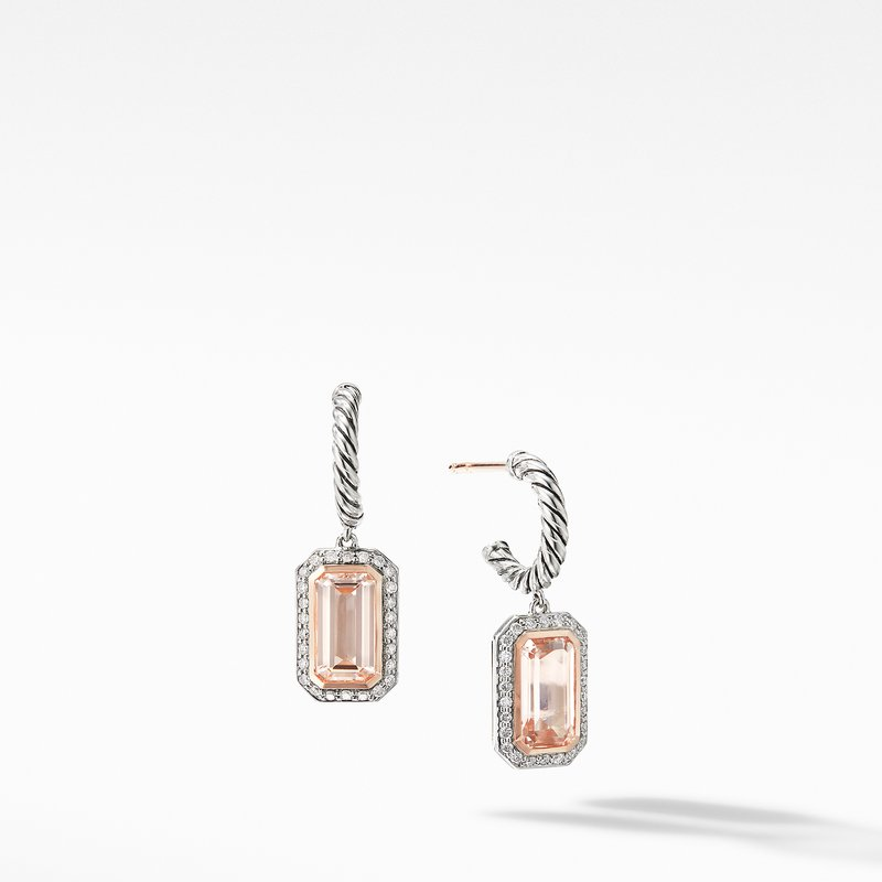 David Yurman Novella Drop Earrings with Morganite, Pavé Diamonds and 18K Rose Gold
