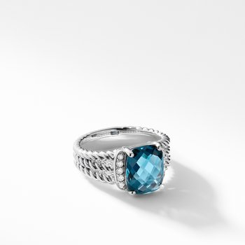 Petite Wheaton® Ring with Hampton Blue Topaz and Diamonds