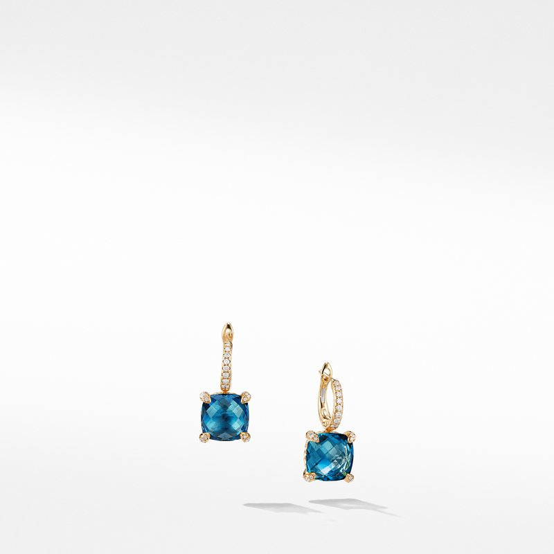 David Yurman Chatelaine® Drop Earrings with Hampton Blue Topaz and Diamonds in 18K Gold