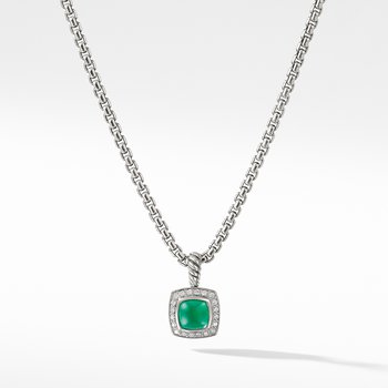 Petite Albion® Pendant Necklace with Green Onyx and Diamonds