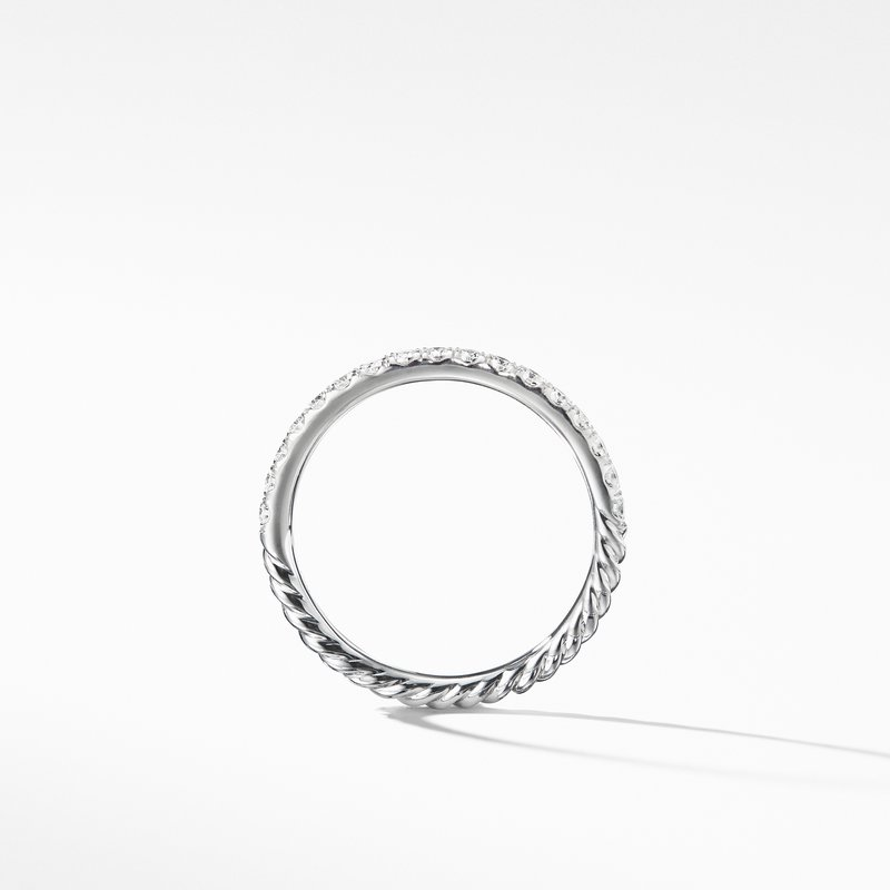 David Yurman Cable Pavé Band Ring with Diamonds in 18K Gold
