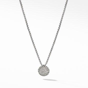 Petite Pavé Pendant Necklace with Diamonds