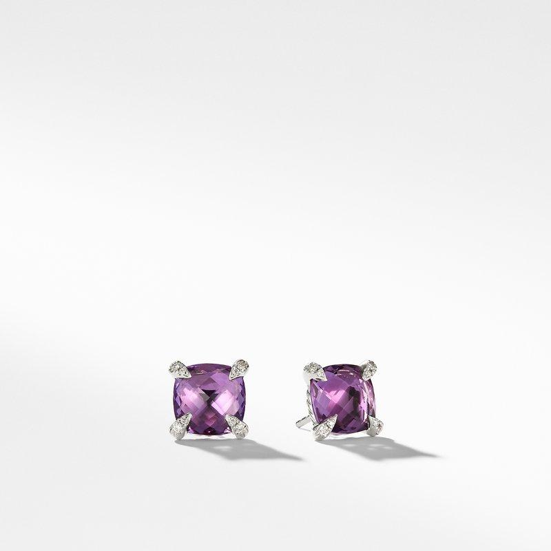David Yurman Earrings with Amethyst and Diamonds
