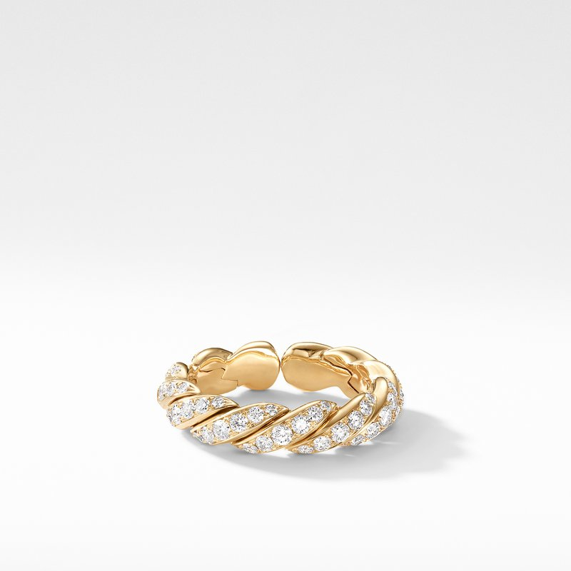 David Yurman Pavéflex Band Ring in 18K Gold with Diamonds