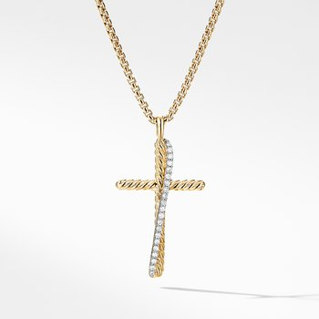 The Crossover Collection® Cross Necklace in 18K Yellow Gold with Pavé Diamonds