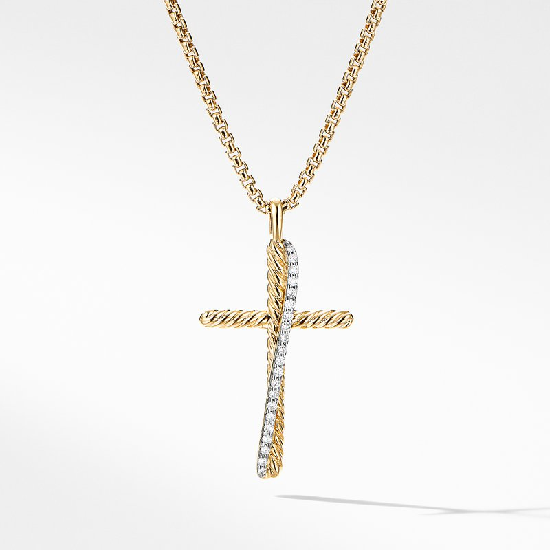 David Yurman The Crossover Collection® Cross Necklace in 18K Yellow Gold with Pavé Diamonds