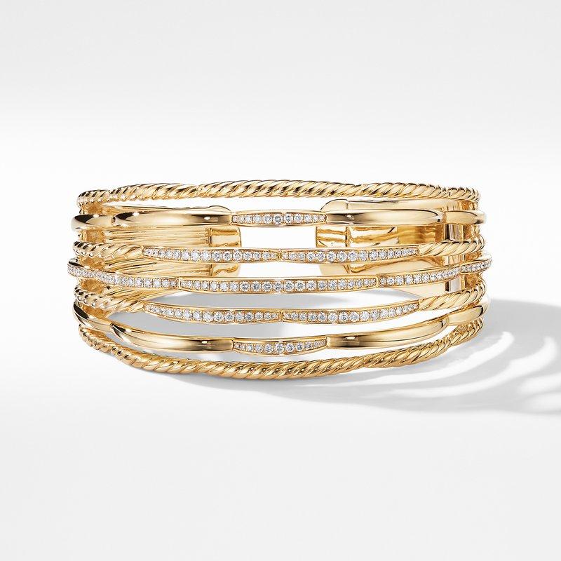 David Yurman Tides Cuff Bracelet in 18K Yellow Gold with Diamonds