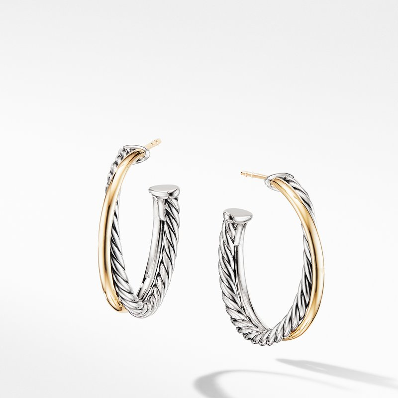David Yurman Crossover Medium Hoop Earrings with 18K Yellow Gold