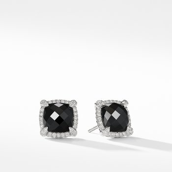 Chatelaine® Pavé Bezel Earring with Black Onyx and Diamonds mm