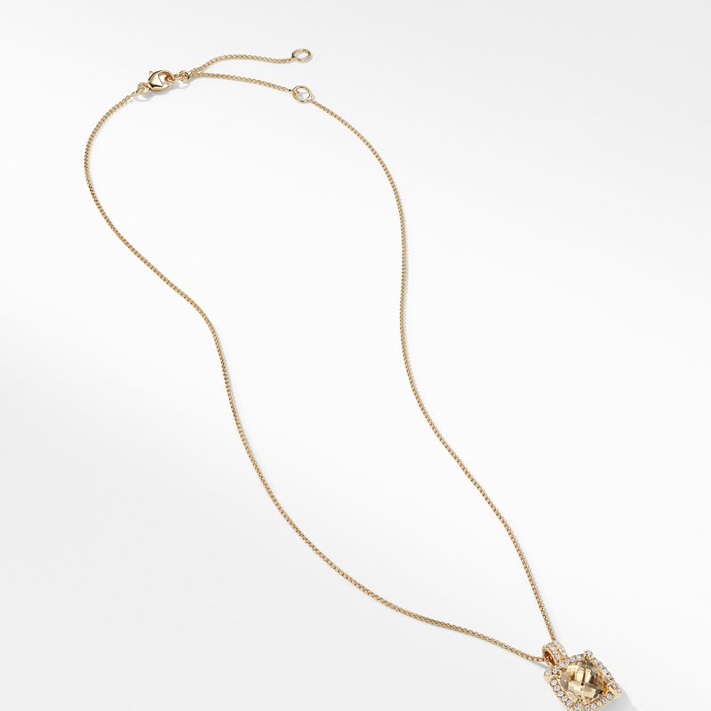 David Yurman Châtelaine Pave Bezel Pendant Necklace with Champagne Citrine and Diamonds in 18K Gold mm