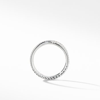 Micro Pavé DY Crossover® Band Ring in Platinum