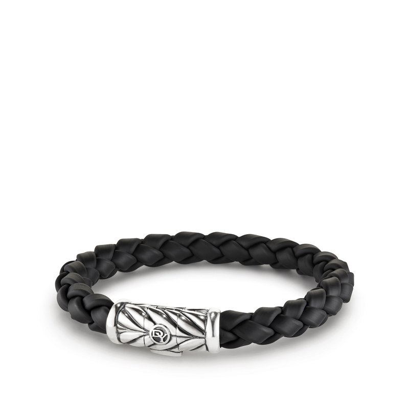 David Yurman Chevron Rubber Weave Bracelet in Black