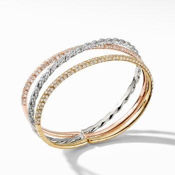 Pavéflex Three Row Bracelet with Diamonds in 18K Gold