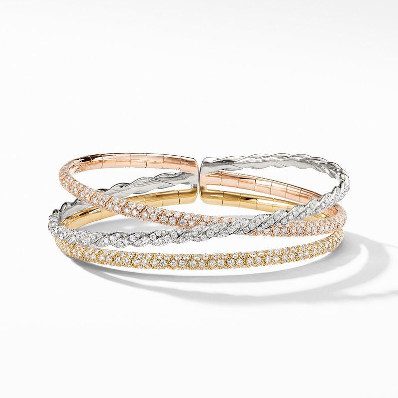David Yurman Pavéflex Three Row Bracelet with Diamonds in 18K Gold