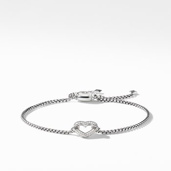 Heart Station Bracelet with Diamonds