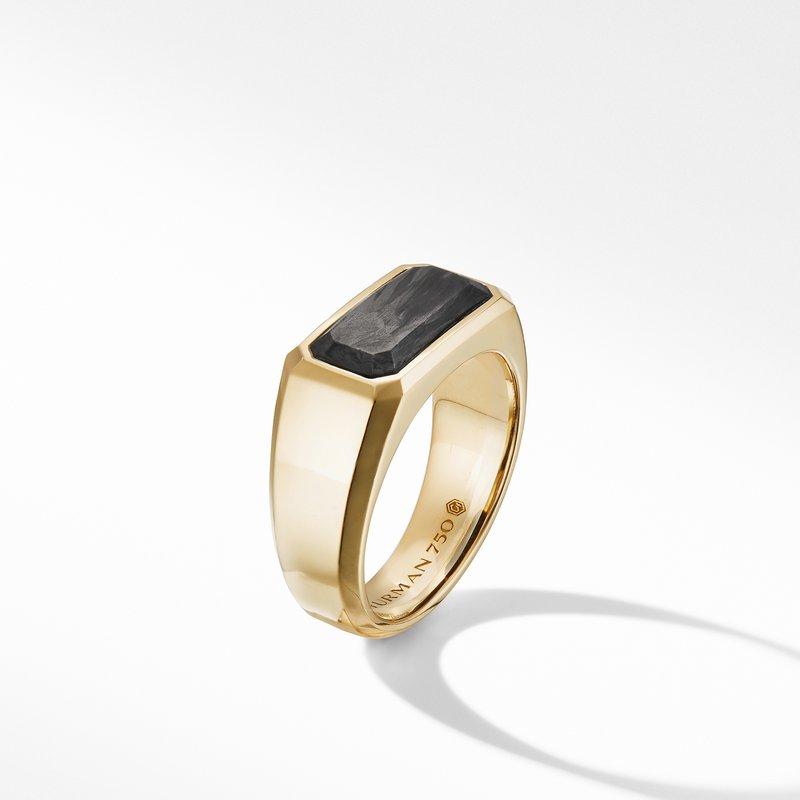 David Yurman Forged Carbon Signet Ring in 18K Yellow Gold