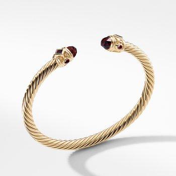 Renaissance Bracelet with Garnet in 18K Gold, 5mm